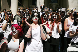 © Licensed to London News Pictures 01/05/2013.Protesters from Team Badger gather infront of DEFRA to demonstrate against the cull of badgers..London, UK.Photo: Anna Branthwaite/LNP