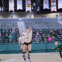 1st year setter Kirstin Greve (17) of the Regina Cougars in action during the Women's Volleyball Home Game vs Trinity Western  on October 28 at the CKHS University of Regina. Credit Matt Johnson/Arthur Images