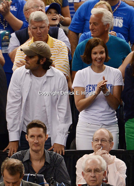 Apr 2, 2012; New Orleans, LA, USA; Film actress Ashley Judd and Indycar driver Dario Franchitti during the finals of the 2012 NCAA men's basketball Final Four between the Kansas Jayhawks and Kentucky Wildcats at the Mercedes-Benz Superdome. Mandatory Credit: Derick E. Hingle-US PRESSWIRE