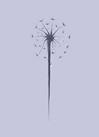 Beautiful dandelion seeds with a little lady bug climbing the stem. Minimalistic abstract oriental Zen style sumi-e painting based design illustration. Purple on light blue lavender background.