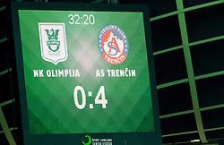 Score in 33th minute during 1st Leg football match between NK Olimpija Ljubljana (SLO) and FK AS Trenčin (SVK) in Second Qualifying Round of UEFA Champions League 2016/17, on July 13, 2016 in SRC Stozice, Ljubljana, Slovenia. Photo by Vid Ponikvar / Sportida