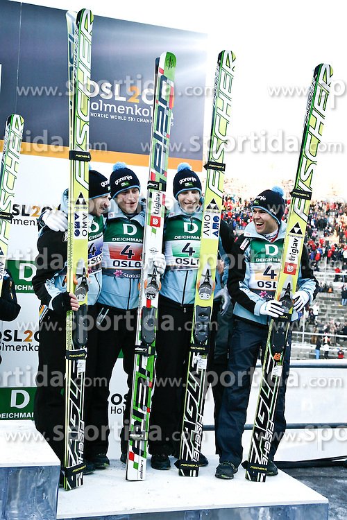 05/03/2011 OSLO 2011 - FIS NORDIC WORLD SKI CHAMPIONSHIPS .Slovenian team: Robert Kranjec, Peter Prevc, Jurij Tepes, Jernej Damjan. Austria took Gold, Germany silver and Slovenia the bronze medal of the LH team ski jumping team event..© Photo Pool  Pierre Teyssot / Sportida.com.