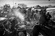 Tailgating in the parking lot of Lambeau Field in Green Bay, Wisconsin Sunday, Jan. 8, 2017.