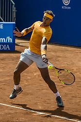 April 25, 2018 - Barcelona, Catalonia, Spain - RAFAEL NADAL (ESP) returns the ball to Roberto Carballes Baena (ESP) during Day 3 of the 'Barcelona Open Banc Sabadell' 2018. Nadal won 6-4,6-4 (Credit Image: © Matthias Oesterle via ZUMA Wire)