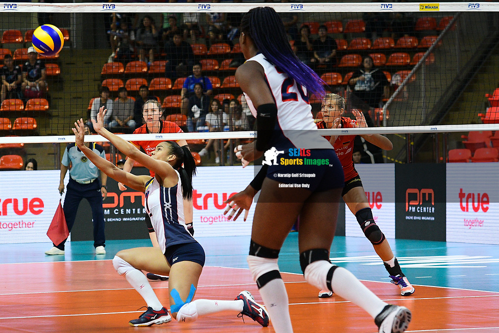 BANGKOK, THAILAND - MAY 31: Niverka Dharlenis Marte Frica #7 (c) of Dominican Republic in action on Day 3 match between Dominican Republic vs Germany at the FIVB Volleyball Nation League 2018, Indoor Stadium Huamark, Bangkok, Thailand on May 31, 2018. <br /> .<br /> .<br /> .<br /> (Photo by: Naratip Golf Srisupab/SEALs Sports Images)<br /> .<br /> Any image use must include a mandatory credit line adjacent to the content which should read: Naratip Golf Srisupab/SEALs Sports Images