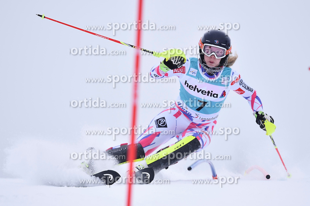 13.03.2016, Pista Silvano Beltrametti, Lenzerheide, SUI, FIS Weltcup Ski Alpin, Lenzerheide, Superkombination, Slalom, Damen, im Bild Anne-Sophie Barthet (FRA) // during ladie's Supercombi, Slalom Race of Lenzerheide FIS Ski Alpine World Cup at the Pista Silvano Beltrametti in Lenzerheide, Switzerland on 2016/03/13. EXPA Pictures &copy; 2016, PhotoCredit: EXPA/ Freshfocus/ Manuel Lopez<br /> <br /> *****ATTENTION - for AUT, SLO, CRO, SRB, BIH, MAZ only*****