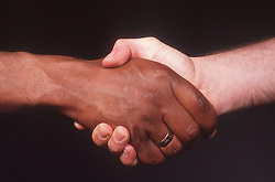 Close up of two men shaking hands,