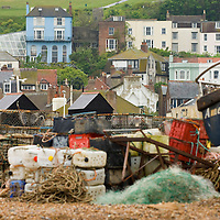 Fishing gear on the beach , hastings, East wessex, England