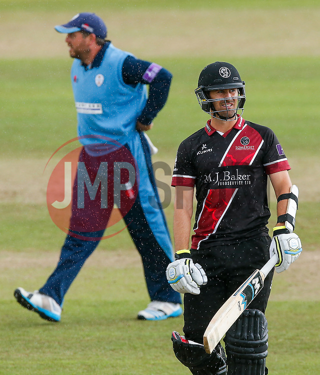 Tim Groenewald of Somerset looks dejected after being caught out for 10 by Wes Durston of Derbyshire (b. Alex Hughes) - Mandatory byline: Rogan Thomson/JMP - 07966 386802 - 26/07/2015 - SPORT - CRICKET - Taunton, England - County Ground - Somerset v Derbyshire Falcons -Royal London One-Day Cup.