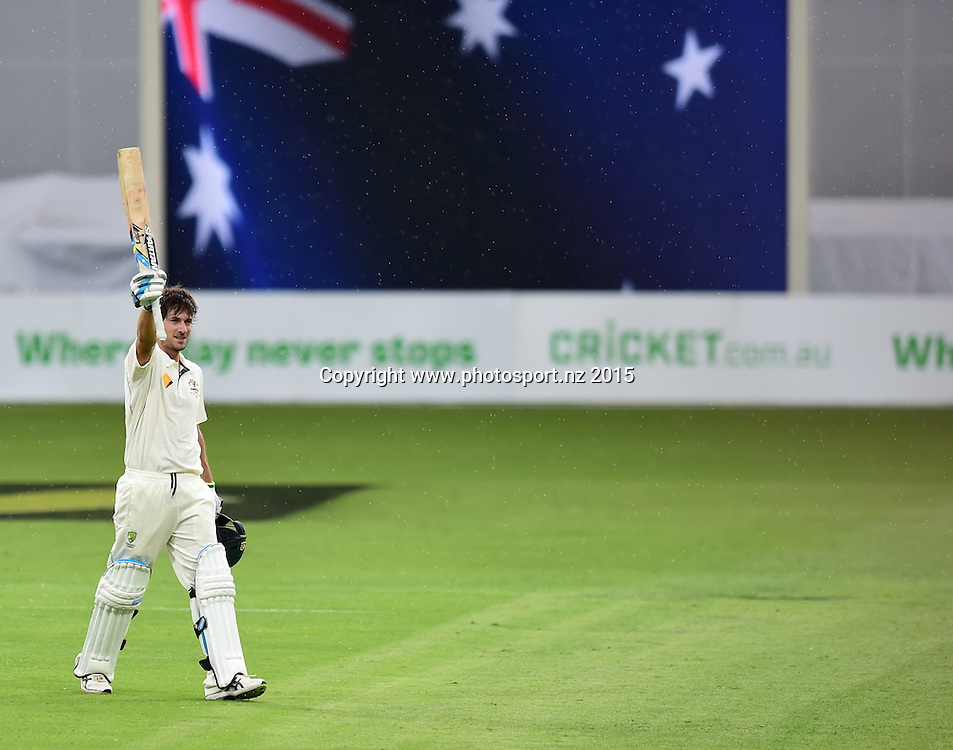 Joe Burns celebrates his maiden test century on Day Three, 7 November 2015. New Zealand Black Caps tour of Australia, 1st test at Brisbane 5-9 November 2015. Copyright photo: www.photosport.nz