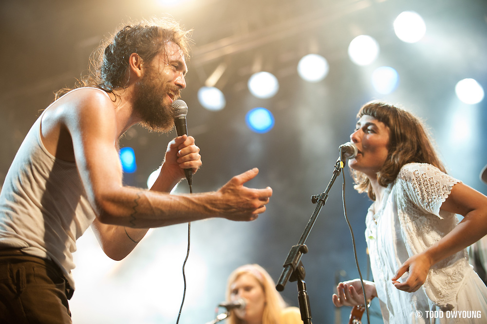 Alex Ebert and Jade Castrinos of Edward Sharpe and the Magnetic Zeros performing on August 6, 2011 at the Escape to New York Festival in South Hampton, NY. © Todd Owyoung.