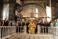 Metropolitan Pavel of Vyshgorod and Chornobyl, Vicegerent of the Kyiv-Pechersk Lavra, leads Sunday Liturgy services at the Refectory Church of Sts. Anthony and Theodosius on Sunday, October 7, 2018 in Kyiv, Ukraine.