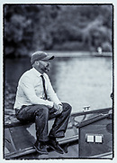 Henley on Thames, United Kingdom. 2016 Henley Masters' Regatta. Henley Reach. England. on Saturday  09/07/2016   Launche Driver, taking a break, [Mandatory Credit/ Peter SPURRIER/Intersport Images]<br />