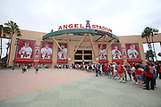 ANAHEIM, CA - JULY 20:  Fans line up outside the stadium in this general view photo taken before the Los Angeles Angels of Anaheim game against the Seattle Mariners at Angel Stadium on Sunday, July 20, 2014 in Anaheim, California. The Angels won the game 6-5. (Photo by Paul Spinelli/MLB Photos via Getty Images)