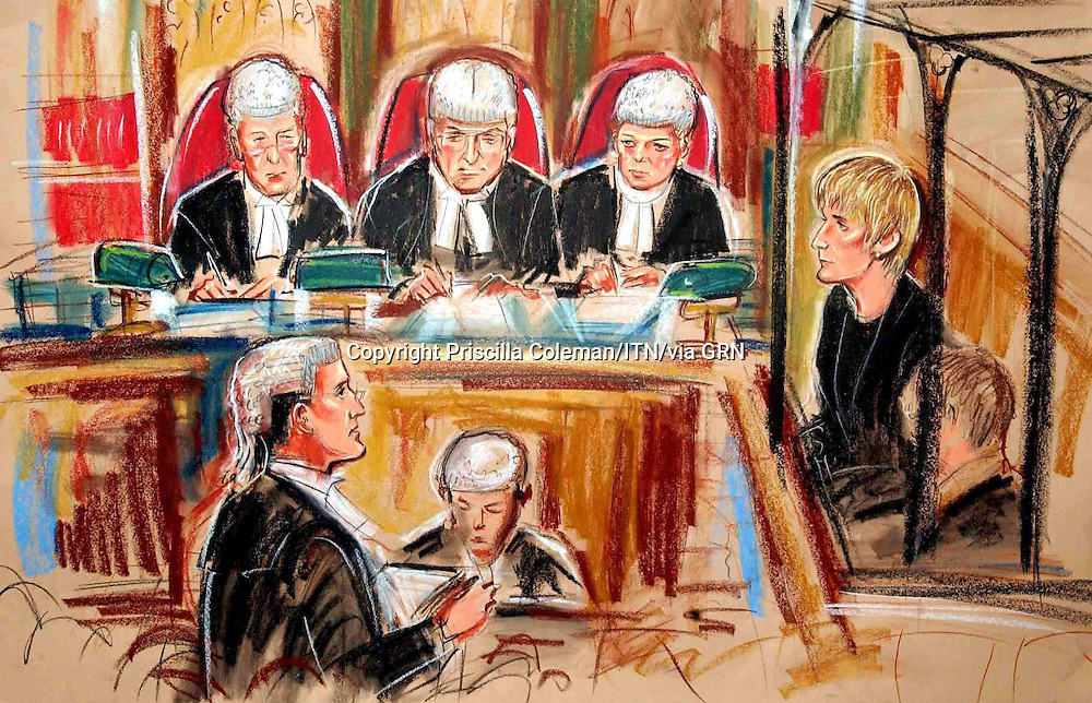 COPYRIGHT PRISCILLA COLEMAN ITV ARTIST 28.01.03.PIC SHOWS;(L-R) JUSTICE HOLLAND, JUSTICE KAY AND JUSTICE HEATHER HALLETT PRESIDING OVER QC CLAIRE MONTGOMERY (LOWER LEFT) WITH SALLY CLARK IN THE DOCK (RIGHT) TODAY IN THE HIGH COURT IN LONDON FOR THE START OF HER APPEAL AGAINST HER MURDER CONVICTION.