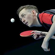 24.02.2018 ITTF World Cup Team Table Tennis Copper Box Arena London UK Mens semi-final: Liam Pitchford ENG