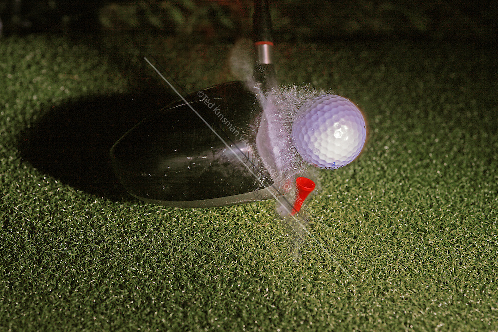 A golf club moving at 97 miles per hour (43.36 m/s) hits a stationary golf ball.  The action is recorded by a fast strobe with a duration of 1/1,000,000th of a second.  In all collisions momentum is conserved. .