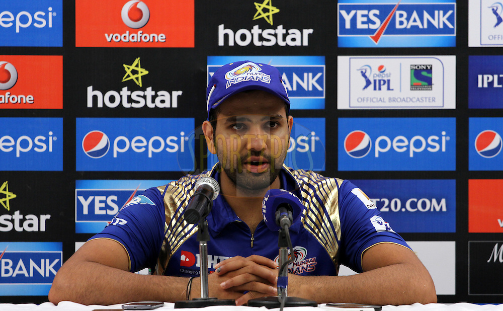 Mumbai Indians captain Rohit Sharma speaks during the press conference of the match 23 of the Pepsi IPL 2015 (Indian Premier League) between The Mumbai Indians and The Sunrisers Hyderabad held at the Wankhede Stadium in Mumbai India on the 25th April 2015.<br /> <br /> Photo by:  Vipin Pawar / SPORTZPICS / IPL