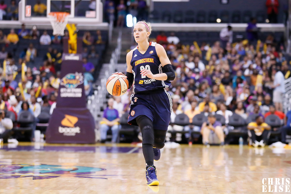 03 August 2014: Connecticut Sun guard/forward Katie Douglas (23) brings the ball up court during the Los Angeles Sparks 70-69 victory over the Connecticut Sun, at the Staples Center, Los Angeles, California, USA.