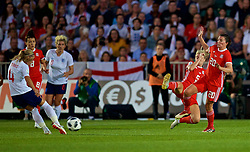 NEWPORT, WALES - Friday, August 31, 2018: England's Jordan Nobbs sees her shot block by Wales' Rhiannon Roberts and Helen Ward during the FIFA Women's World Cup 2019 Qualifying Round Group 1 match between Wales and England at Rodney Parade. (Pic by David Rawcliffe/Propaganda)
