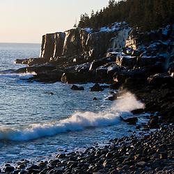 A winter morning on the Maine coast in Acadia National Park.  Ocean Drive section of the park. Otter Cliffs.