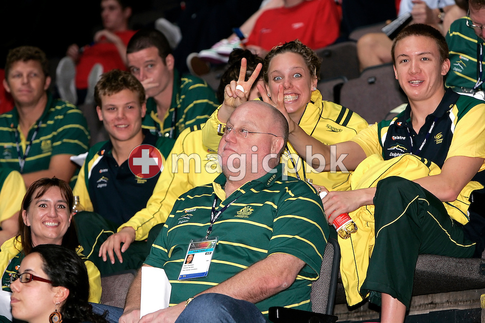 Swimmers make a joke with national head coach Alan THOMPSON during the final session  in the Duncan Goodhew pool at the FINA Swimming World Championships (25m) in Manchester, Great Britain, Friday, April 11, 2008. (Photo by Patrick B. Kraemer / MAGICPBK)