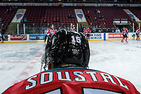 KELOWNA, CANADA - NOVEMBER 5: Tomas Soustal #15 of the Kelowna Rockets stands on the ice during warm up against the Medicine Hat Tigers on November 5, 2016 at Prospera Place in Kelowna, British Columbia, Canada.  (Photo by Marissa Baecker/Shoot the Breeze)  *** Local Caption ***