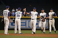 PHOENIX, AZ - APRIL 27:  Nick Ahmed #13, Chris Owings #16, David Peralta #6, Yasmany Tomas #24 and A.J. Pollock #11 of the Arizona Diamondbacks celebrate after closing out the game against the San Diego Padres at Chase Field on April 27, 2017 in Phoenix, Arizona. The Arizona Diamondbacks won 6 - 2.  (Photo by Jennifer Stewart/Getty Images)