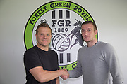 Lee Collins(Right) signs for Forest Green Rovers pictured with Forest Green Rovers manager, Mark Cooper at the New Lawn, Forest Green, United Kingdom on 18 May 2017. Photo by Shane Healey