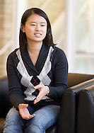 Yining Xu, 20 years old, sophomore, of Shanghai, China, talks in the admissions building at Grinnell College in Grinnell, Iowa on Tuesday February 1, 2011.