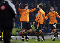 Photo: Ashley Pickering.<br /> Ipswich Town v Wolverhampton Wanderers. Coca Cola Championship. 20/02/2007.<br /> Stephen Ward (L) of Wolves celebrates his goal (0-1)