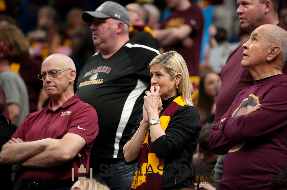 Loyola University Chicago fans worry as the Ramblers' battle the Bradley University during the semifinals of the Missouri Valley Conference men's basketball tournament at Scottrade Center in St. Louis Saturday, March 3, 2018. Photo © copyright 2018 Sid Hastings.