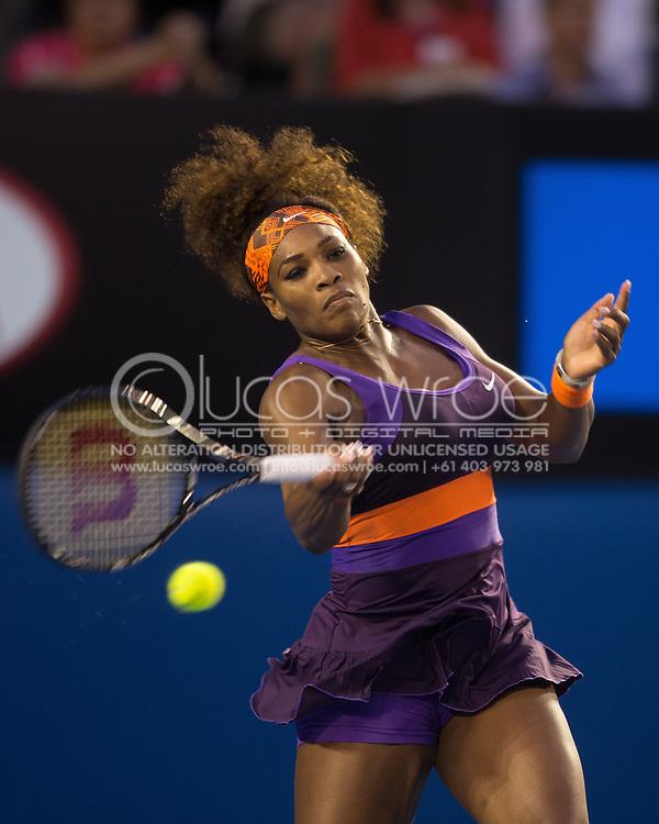 Serena Williams (USA). Day 9. Quater Finals. Melbourne Olympic Park, Melbourne, Victoria, Australia. 22/01/2013. Photo By Lucas Wroe