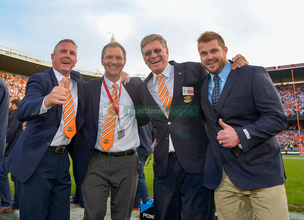 Coach Franco Smith and administration team of Free State Cheetahs celebrating during the Currie Cup Final between the The Free State Cheetahs and Blue Bulls held at Toyota Stadium (Free State Stadium), Bloemfontein, South Africa on the 22nd October 2016<br /> <br /> Photo by:   Frikkie Kapp / Real Time Images