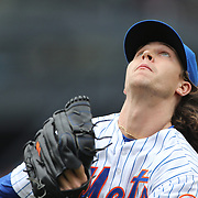Pitcher Jacob deGrom, New York Mets, chases an infield fly ball during the New York Mets Vs St. Louis Cardinals MLB regular season baseball game at Citi Field, Queens, New York. USA. 21st May 2015. Photo Tim Clayton