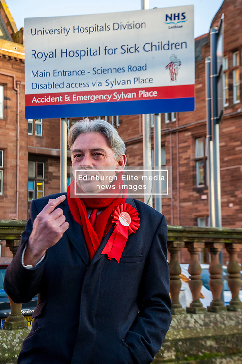 Pictured: Rixchard Leonard<br /><br />Richard Leonard visited Edinburgh's Royal Hospital for Sick Children today to highlight the risks to our NHS and outline Labour's plans to invest in and revive our health service.<br /><br />Ger Harley   EEm 9 December 2019