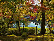"""Fall foliage colors at Hojo Pond at Eikando (formally known as Zenrinji Temple), in Kyoto, Japan. Eikando belongs to the Jodo sect of Japanese Buddhism. It is found just north of the large temple complex of Nanzenji. A court noble of the Heian Period (710-1185) donated his villa to a priest, who converted it into a temple named Zenrinji (""""temple in a calm grove""""). At its founding, Zenrinji was part of the Shingon sect. In the 11th century, Zenrinji had a popular head priest named Eikan, after whom the temple is popularly named Eikando (""""Eikan Hall"""")."""