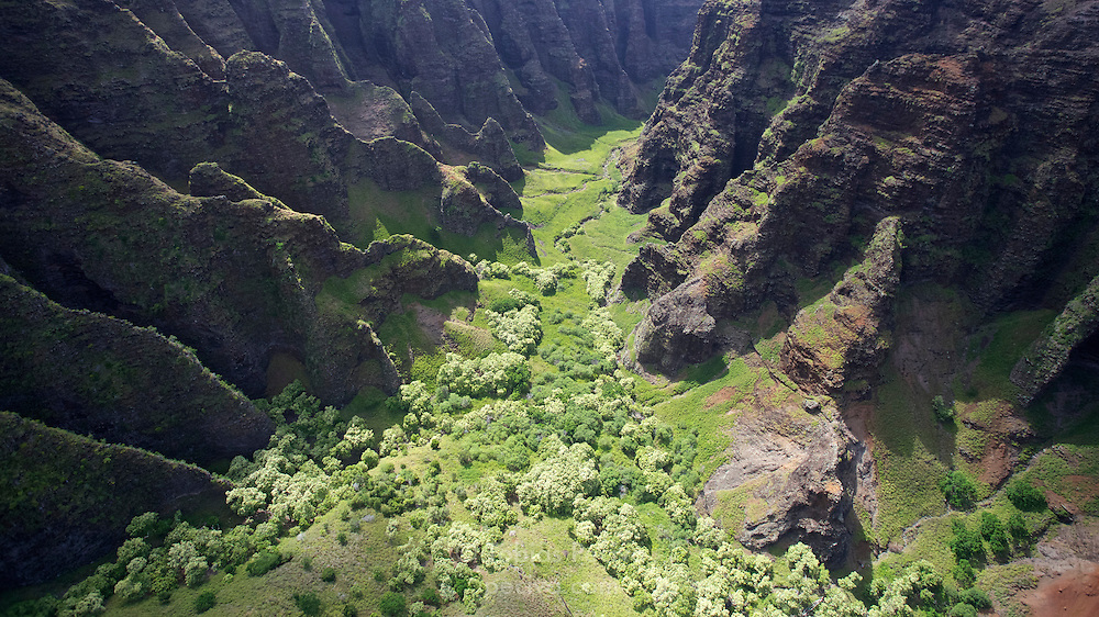 Aerial view of a valley hemmed in by sharp ridges, on the Na Pali coastline of Kauai, Hawaii.