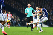 West Bromwich Albion midfielder Matt Philips (10) shoots at goal during the Premier League match between West Bromwich Albion and Southampton at The Hawthorns, West Bromwich, England on 3 February 2018. Picture by Dennis Goodwin.