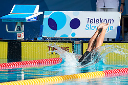 "Swimmer jumping in water and Telekom Slovenije banner during 43rd International Swimming meeting ""Telekom 2019"", on July 13, 2019 in Radovljica, Slovenia. Photo by Matic Klansek Velej / Sportida"
