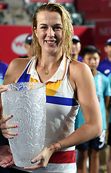 HONG KONG, Oct. 16, 2017  Russia's Pavlyuchenkova Anastasia poses for photo after the singles final match against Australia's Daria Gavrilova at 2017 WTA Hong Kong Tennis Open in Hong Kong, south China, Oct. 15, 2017. Pavlyuchenkova Anastasia claimed the title with 2-1. (Credit Image: © Lo Ping Fai/Xinhua via ZUMA Wire)