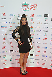 LIVERPOOL, ENGLAND - Thursday, May 12, 2016: Liverpool Ladies' Mayumi Pacheco 'Maz' arrives on the red carpet for the Liverpool FC Players' Awards Dinner 2016 at the Liverpool Arena. (Pic by David Rawcliffe/Propaganda)