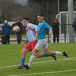 Callum O&rsquo;Brien Colaiste Chiarain and Leo Doherty Summerhill College in action during the Connacht U19 FAI Schools final.<br /> Pic Conor McKeown