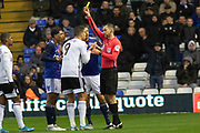 Aleksandar Mitrovic (9) is booked during the EFL Sky Bet Championship match between Birmingham City and Fulham at the Trillion Trophy Stadium, Birmingham, England on 9 November 2019.