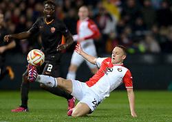 26-02-2015 NED: Europa League Feyenoord - AS Roma, Rotterdam<br /> In the photo Jens Toornstra #28, Mapou Yanga-Mbiwa #2