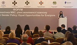 October 9, 2018 - Kyiv, Ukraine - Deputy Minister of Internal Affairs of Ukraine Tetiana Kovalchuk delivers a speech at the Ministry of Interior Gender Policy: Equal Opportunities for Everyone Forum in Kyiv, capital of Ukraine, October 9, 2018. The event was organised by the OSCE Project Co-ordinator in Ukraine in cooperation with the Ministry of Internal Affairs of Ukraine. Ukrinform. (Credit Image: © Sergiy Anishchenko/Ukrinform via ZUMA Wire)