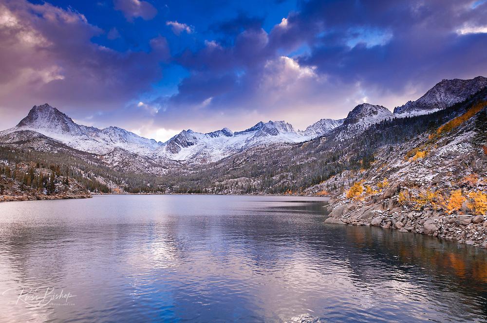 Fall color under the Sierra crest at South Lake, John Muir Wilderness, Sierra Nevada Mountains, California USA
