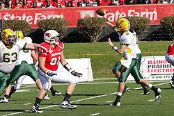 16 October 2010:  Dave Rivas gets past Austin Richard but is too late to pressure a pass by Jose Mohler during a game where the North Dakota State Bison lost to the Illinois State Redbirds 34-24, meeting at Hancock Stadium on the campus of Illinois State University in Normal Illinois.