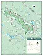 Vector map illustration of Belden Forest conservation area in Simsbury, Connecticut. The map shows the points of interest, walking trails and access points.