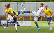 Barry Banna battling for the ball during the Pre-Season Friendly match between St Albans FC and Crystal Palace at Clarence Park, St Albans, United Kingdom on 21 July 2015. Photo by Michael Hulf.